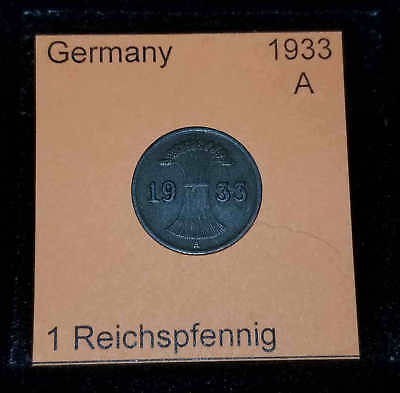 1927 E Germany Weimar Republic 1 Reichspfennig Coin VG