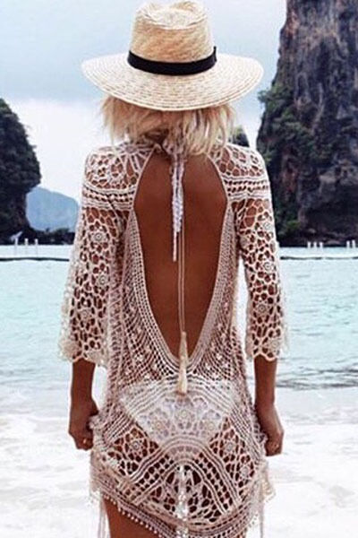 Ladies White Beach Dress Cover up Crochet  Lace Backless beachwear size 10/12