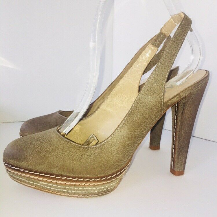 Paco Gil Taupe Distressed Leather Slingback Heel Platform Pumps Pumps Pumps EU 40 US 9.5 a1bce7