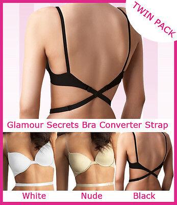 Originale Low Back Bra Strap Converter Twin Pack Nero / Bianco O Nero / Nude 1st Class P+p-mostra Il Titolo Originale