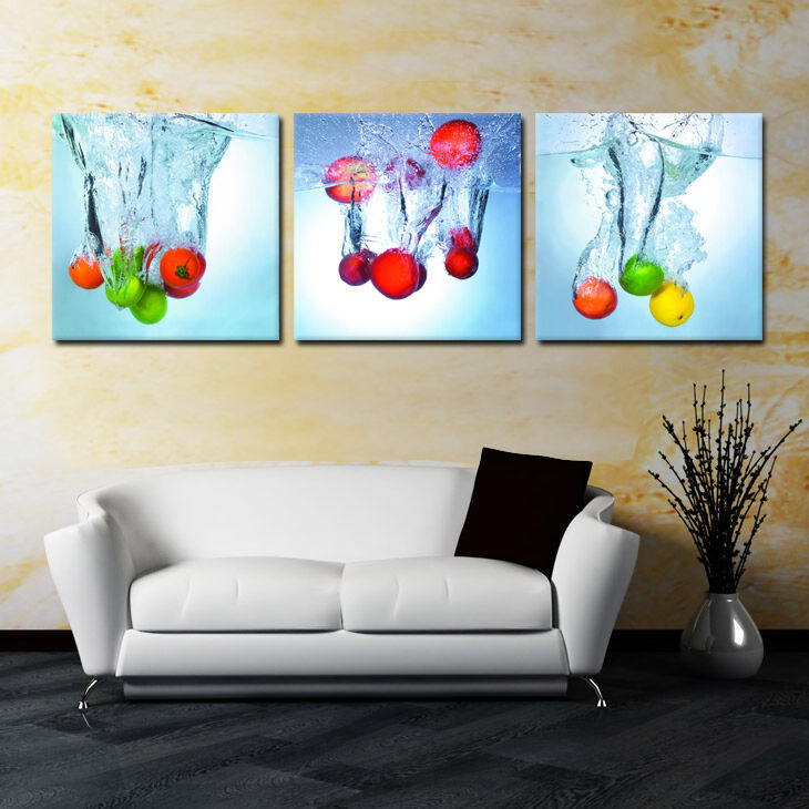 FRUIT SPLASH ready to hang 3panel mounted on MDF picture Waterproof Vinyl Canvas