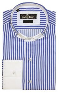81db6bc0a6148 CLAUDIO LUGLI Mens Double Collar Shirt White with Blue stripes Large ...