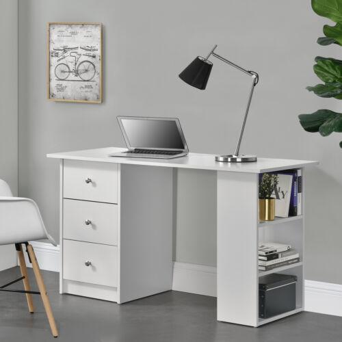 en.casa ® Scrivania con 3 mensole e 3 cassetti Bianco 120 x 49 x 72 cm