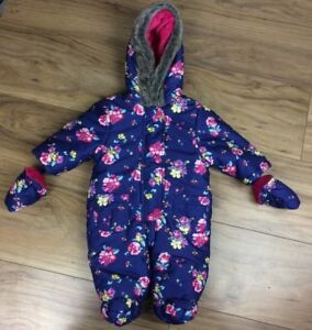 d50b13ec8 JOHN LEWIS Baby Girls All In One Snowsuit Coat Age 0-3 Months Floral ...