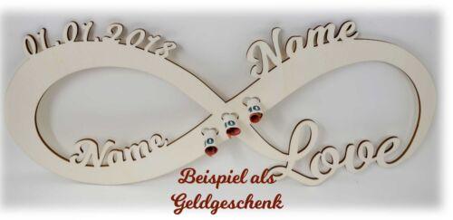 Geldgeschenke zur Hochzeit mit Namen und Datum Geld Geschenke Infinity Schild