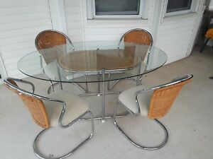 Details About Daystrom Mid Century Oval Chrome Glass U0026 Wicker Dining Table  4 Chairs
