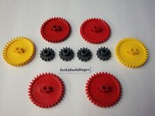 """KNEX GEARS LOT: 2 1/4"""" Red & Yellow and 1"""" Dark Gray Parts / Pieces Lot"""