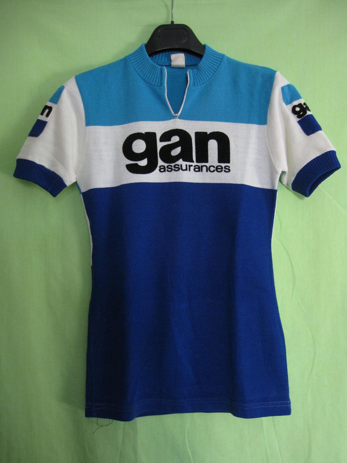 Maillot Cycliste vintage Gan Assurances Cycles Acrylique 70'S jersey - 1   XS