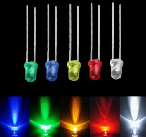 100pcs White Green Red Blue Yellow Emitting 3mm Diode Lamps LED Light Bulb New~~