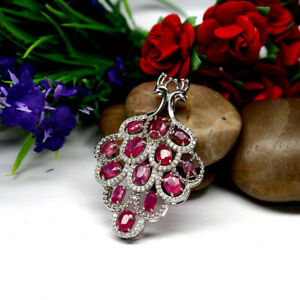 NATURAL-4-X-6-mm-OVAL-RED-RUBY-amp-WHITE-CZ-PEACOCK-PENDANT-925-STERLING-SILVER