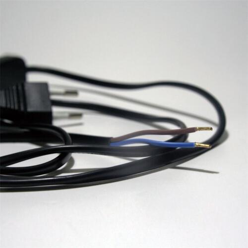 Stromkabel 2x0,75mm² mit Zwischenschalter /& Eurostecker schwarz Anschlußkabel