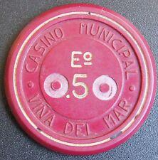 Chile Chip Casino de Viña del Mar Eº0.50 Roja - 3.8 cm.