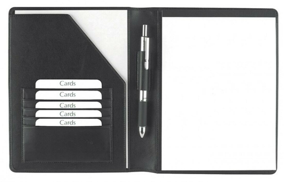 Schreibmappe A5 Rindnappaleder, schwarz,  excl. Marke EuroStyle   Qualität Produkt    Große Auswahl    Authentische Garantie