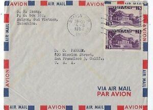 Saigon-Vietnam-Indo-China-Airmail-to-San-Francisco-California-Pair-2-Stamps