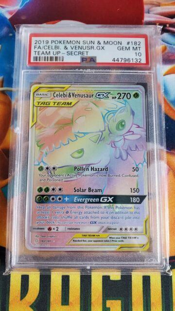 ⭐ PSA 10 Pokemon Team Up Venusaur Celebi GX Full Art Secret Rare Holo 182/181⭐