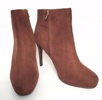 M&s Wider Fit Rust Faux Suede High Stiletto Heel Ankle Boots Insolia 7.5