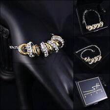 Armschmuck, Bracciale * anelli mobili * oro bianco pl., Swarovski Elements, + ASTUCCIO