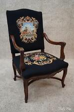 Antique French Needlepoint Fauteuil Throne Arm Chair Dramatic Statement Piece