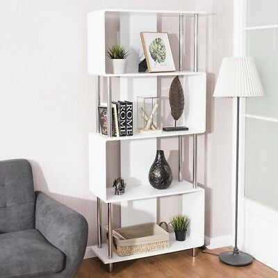 4 Shelf Home Living Room Bookcase Storage Display Bookshelf Furniture White  US | eBay