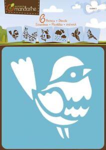6 Schablonen Vögel Motive