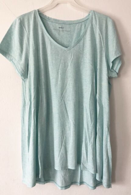 NEW PURE J. JILL L Shirred-back Elliptical Tee S/S Pima Cotton Aqua Blue