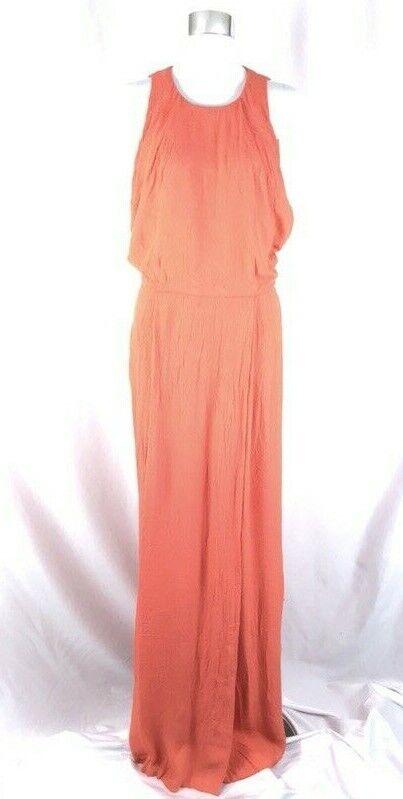 Lela pink Maxi Dress Crinkled Blouson Keyhole Sleeveless orange Size 6