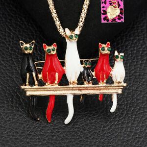 Betsey-Johnson-Enamel-Crystal-Cat-Kitten-Pendant-Women-039-s-Necklace-Brooch-Pin