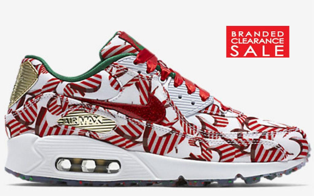 BNIB BNIB BNIB New Women Nike Nike Air Max 90 Red gold White Christmas Ribbon Size 6 8040be