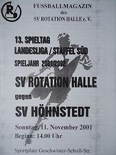 Programm 2001/02 SV Rotation Halle - SV Höhnstadt