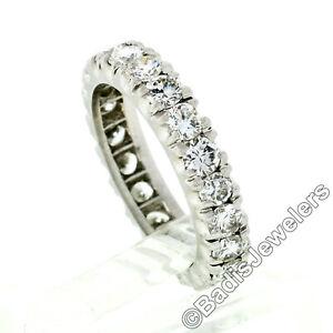 Vintage-Platinum-2-00ctw-Prong-Set-F-VVS-Diamond-Eternity-Wedding-Band-Ring