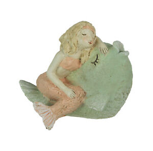Whimsical Hand Painted Pastel Mermaid Relaxing With a Seashell Statue