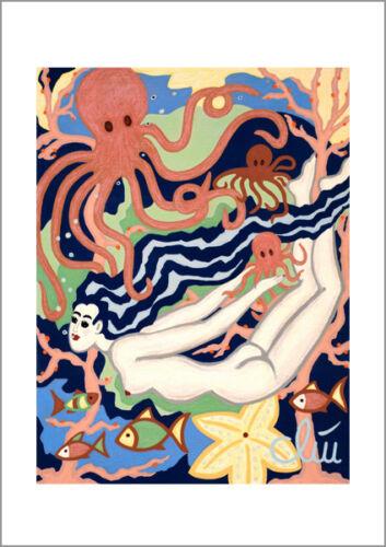 JACQUELINE DITT Swimming in Octopus/'s Garden A4 DRUCK n.Gemälde Bild Akt Bilder