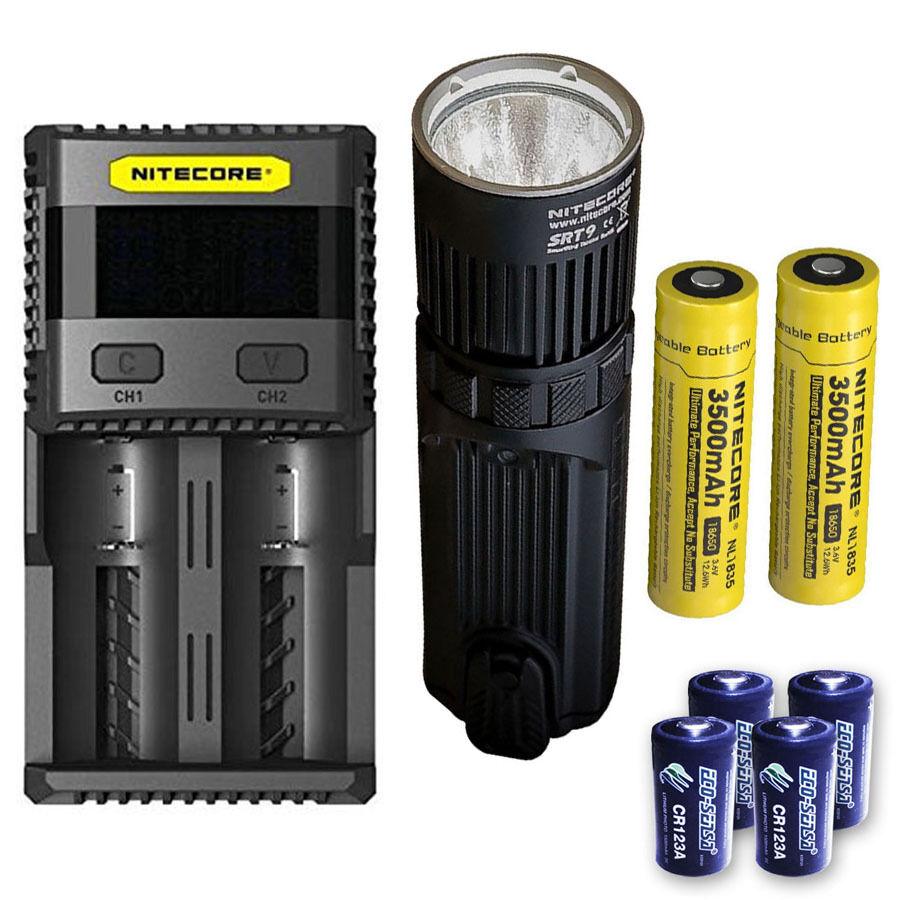 Nitecore SRT9 Flashlight w/SC2 Charger, 2x 2x 2x NL1835 & 4x CR123A Batteries 9d4c2d