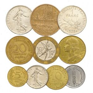 10-FRENCH-COINS-FRANCE-FRANCS-CENTIMES-COLLECTIBLE-OLD-COINS-FROM-EUROPE