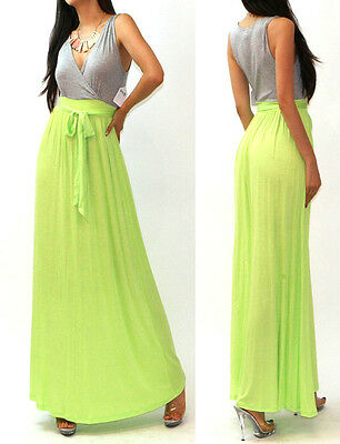 R12 USA Cleavage Low Cut Color Block Wrap Tie Waist Long Jersey Maxi Dress SML