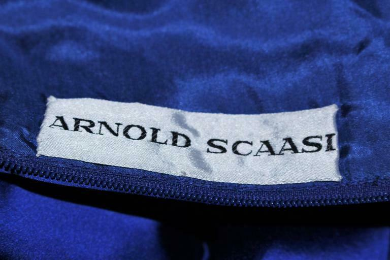 ARNOLD SCAASI Blue Satin Cocktail Dress with Bow … - image 8