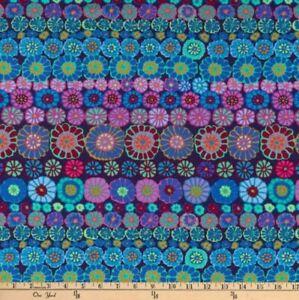 1-5-Yard-Length-Free-Spirit-Kaffe-Fassett-Row-Flowers-PWGP169-Blue-Cotton-Fabric