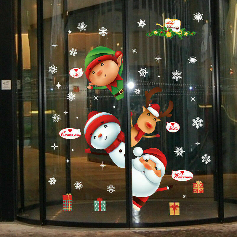 Home Decoration - Christmas Xmas Santa Removable Window Stickers Art Decal Wall Home Shop Decor Q2