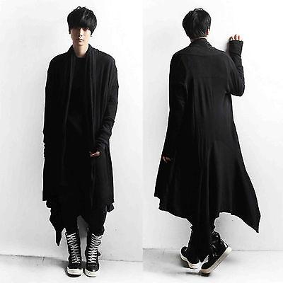 Men Smart Black One Size Asymmetric Hem Long Knit Jacket Sweater Jumper Cardigan