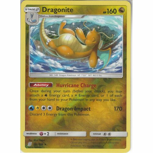 151//236 DragoniteRare Reverse HoloPokemon Trading Card Game Unified Minds