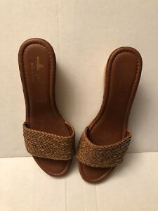 029d7e3f409e Mila Paoli Womens Wedge Sandals Brown Size 10 ( Made In Italy )