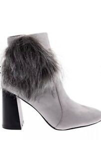 Women-s-grey-boots-by-Sergio-Todzi-ladies-faux-Suede-fur-boots-size-6