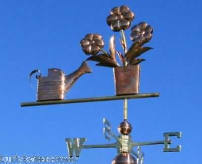 """COPPER """" FLOWER & WATERING CAN """" WEATHERVANE   #BHF046"""
