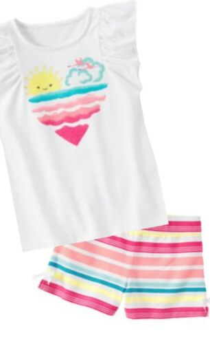 Gymboree Hop N Roll 6 8 10 Pink Striped Heart Shirt /& Shorts Set Summer 15