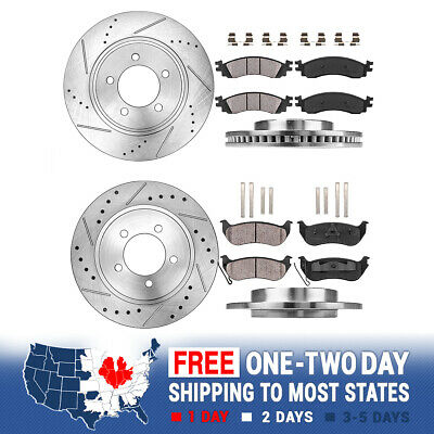 Fits Ford Explorer 2006-2010 Rear Slot Brake Rotors And Low Dust Ceramic Pads