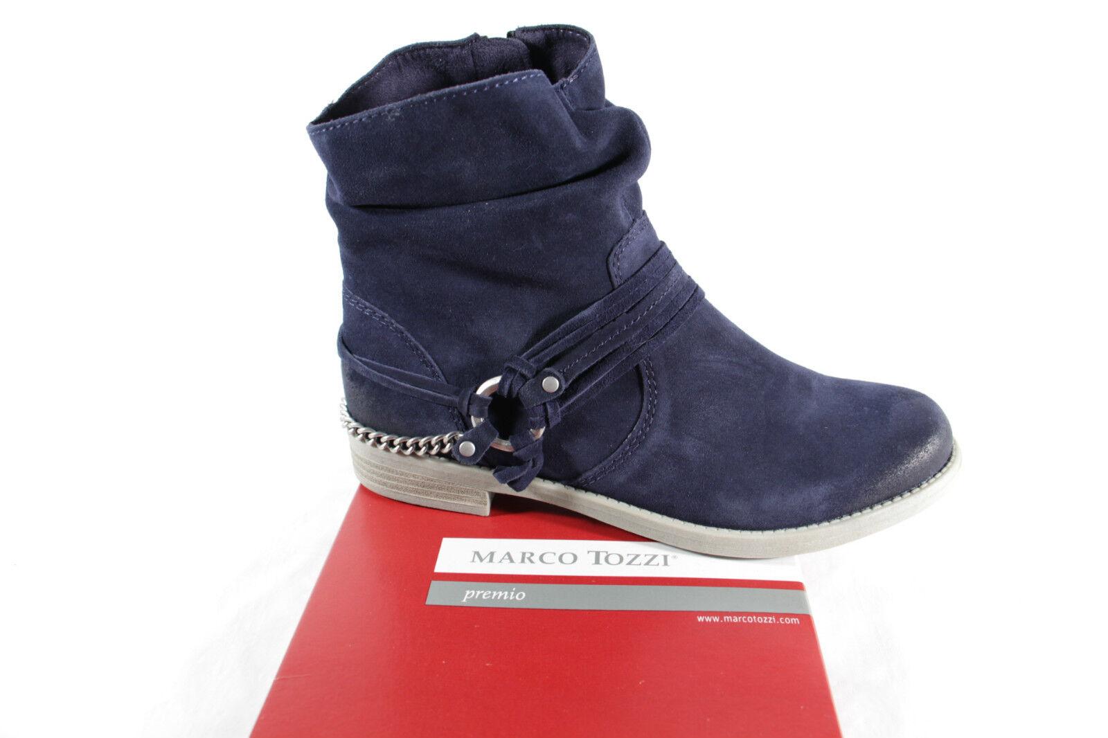 MARCO TOZZI Ankle stivali Leather, blu, 25317 RV NUOVO   molto popolare