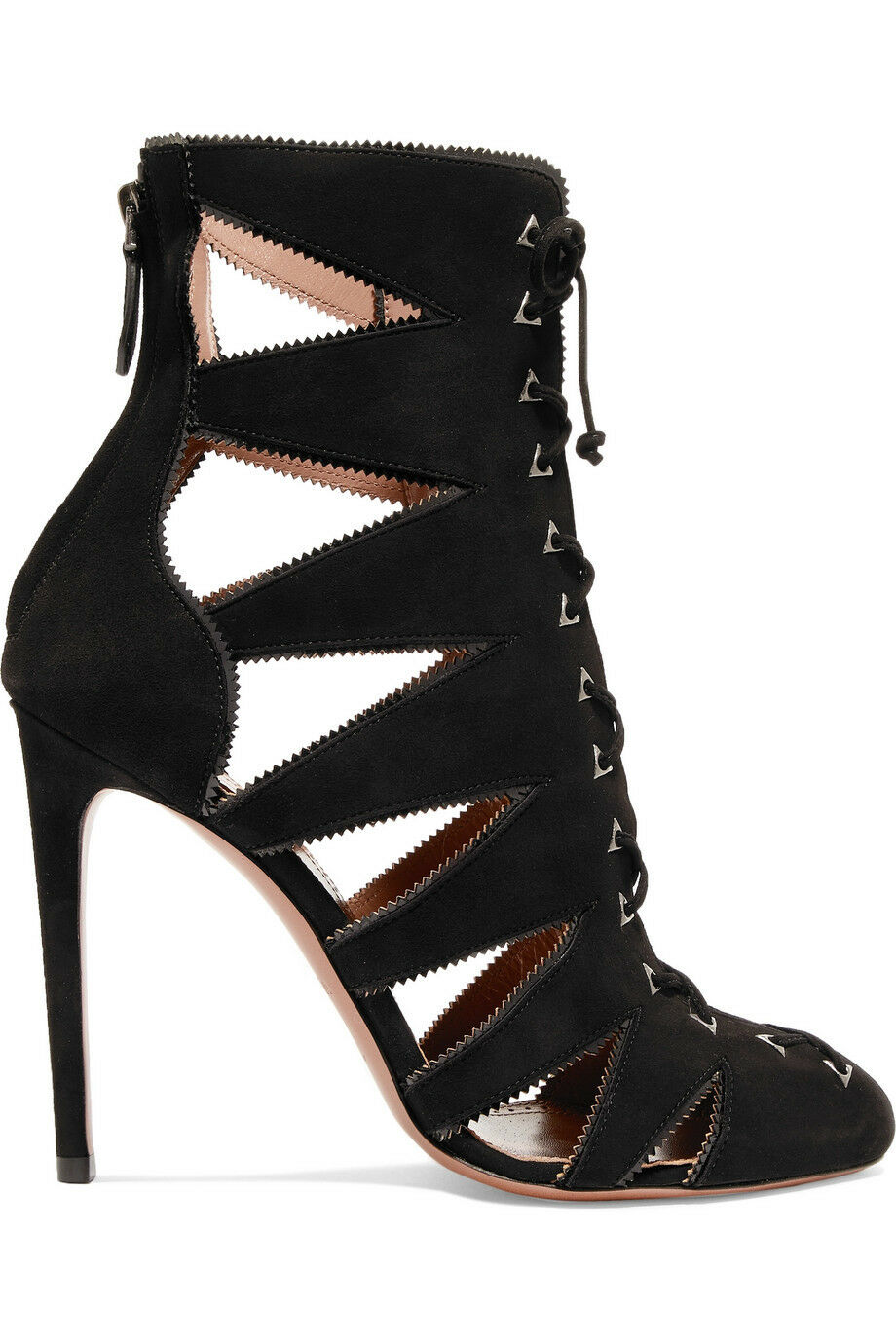 Azzedine Alaia Cutout patent leather-trimmed suede sandals 37