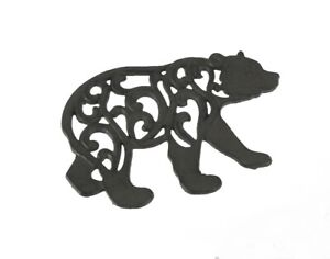 Scratch & Dent Black Enamel Cast Iron Bear Kitchen Trivet Lodge Decor