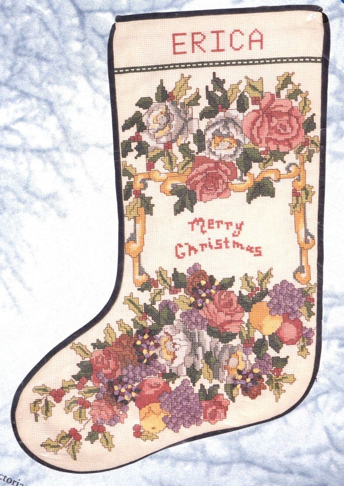 Candamar Victorian Christmas Roses Fruit Ribbon Cross Stitch Stocking Kit 50823