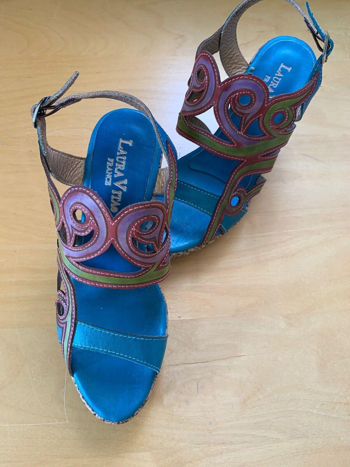 Sandalen Damen Laura Vita Blau Gr 41 Neuware